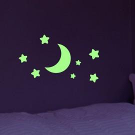 Stickers Phosphorescent Lune et Étoiles