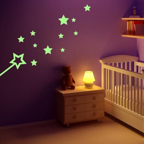 Stickers Phosphorescent Baguette et Étoiles