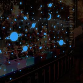 Sticker Univers - 150 étoiles et planètes phosphorescentes Bleu