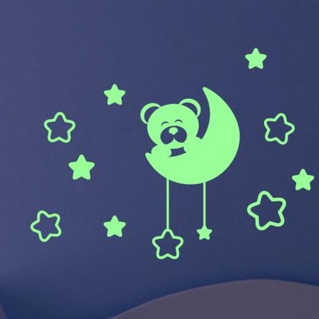 Sticker Phosphorescent Ours en peluche sur la lune