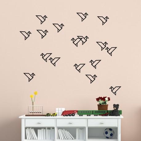 Sticker oiseaux géométriques en groupe