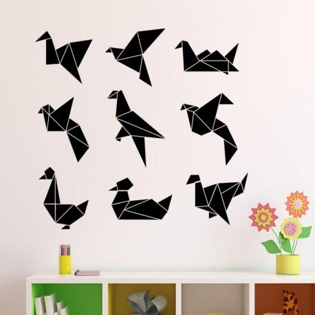 Sticker types d'oiseaux géométriques