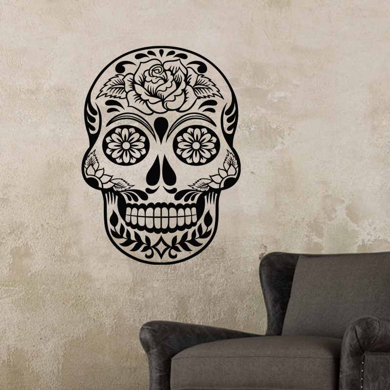 sticker t te de mort fleurie. Black Bedroom Furniture Sets. Home Design Ideas