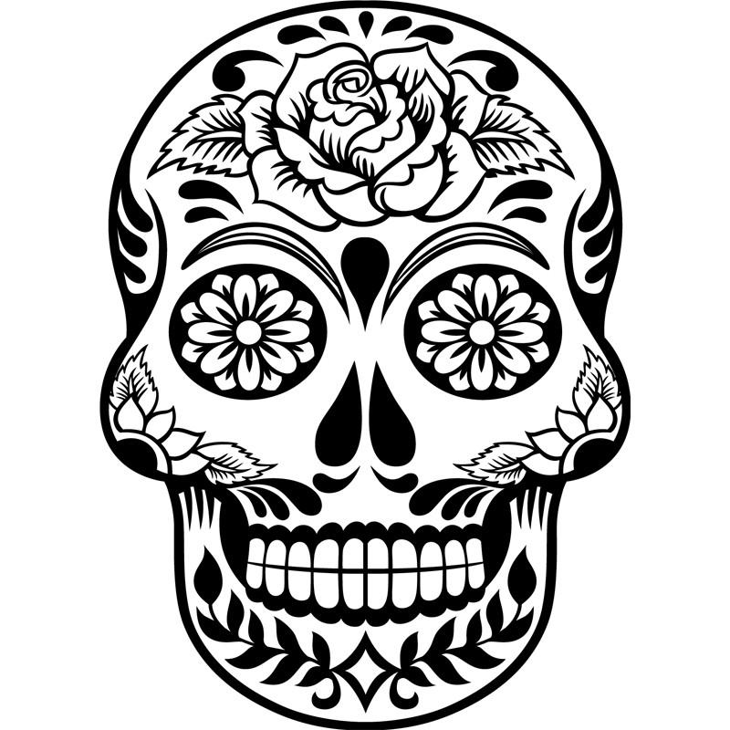 Couleur Chambre Garcon Adolescent : Sticker tête de mort fleurie