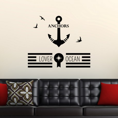 Sticker ocean, anchors, lover