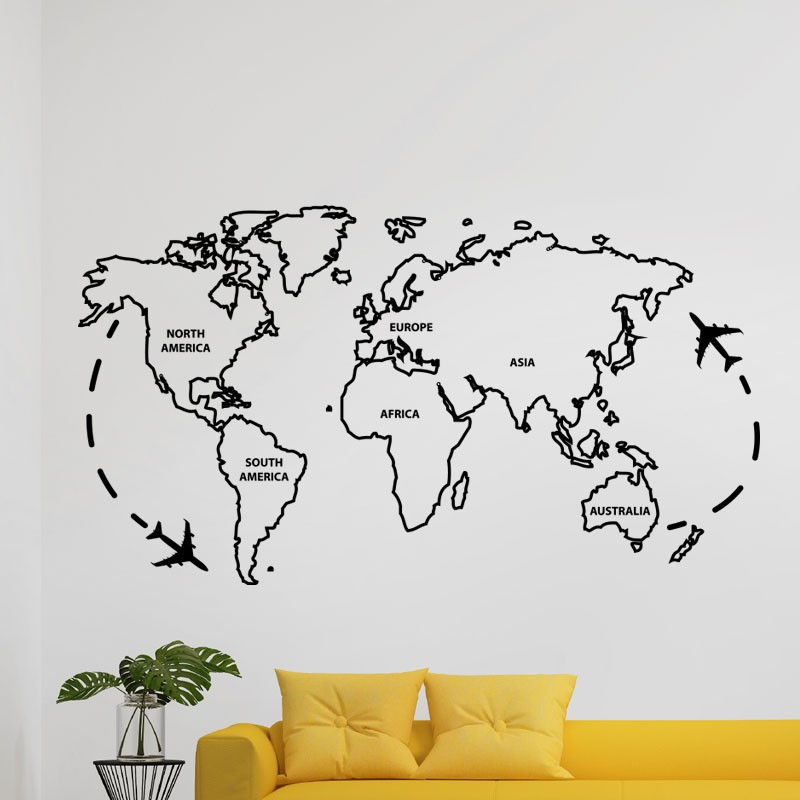 sticker la carte du monde. Black Bedroom Furniture Sets. Home Design Ideas
