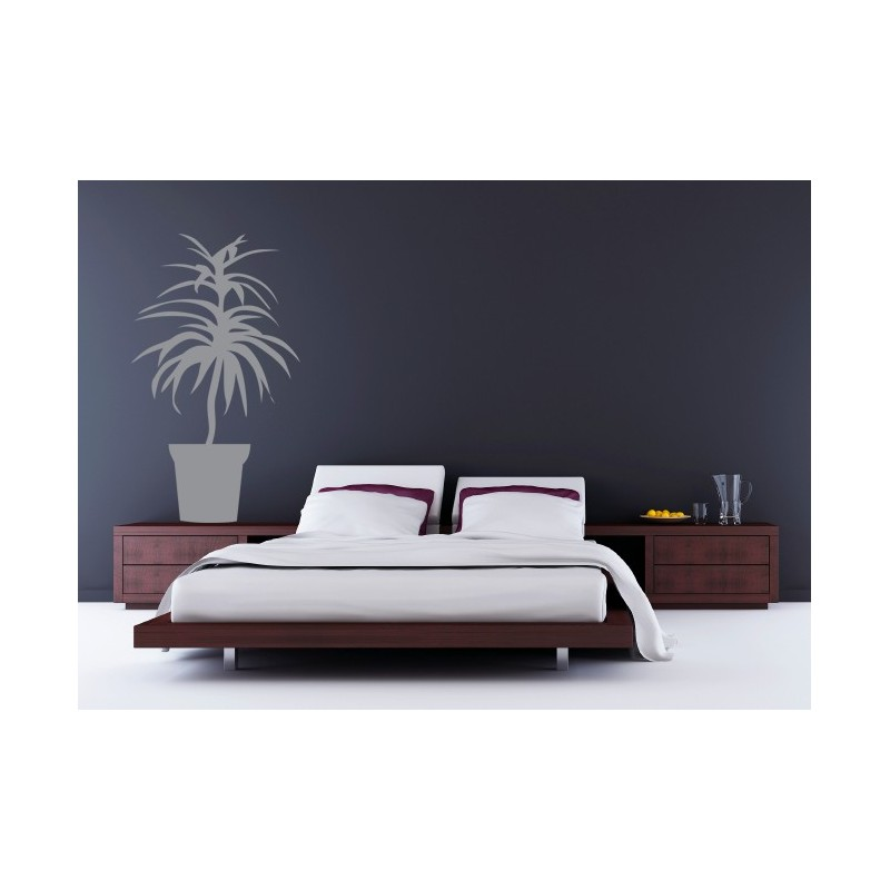 sticker d coratif d 39 un arbuste fleur dans son pot pour une d coration moderne. Black Bedroom Furniture Sets. Home Design Ideas