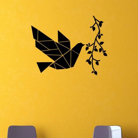 Sticker oiseau volant avec branche