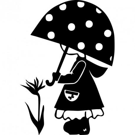 Sticker Petite Fille Avec Un Parapluie