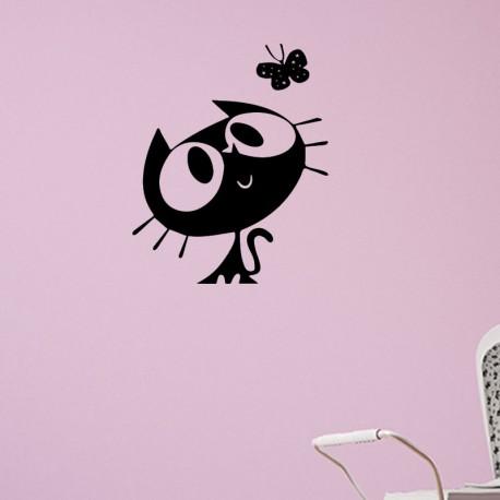 Sticker chat et papillon