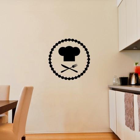 Sticker toque, fourchette et couteau du chef cuisinier