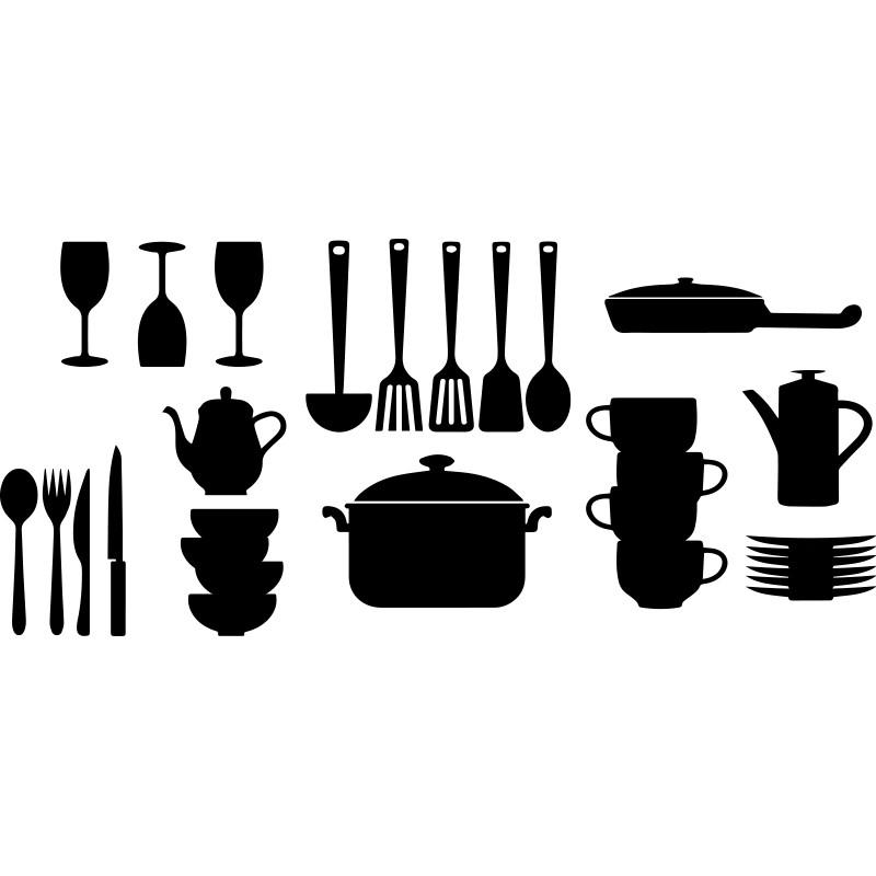 Couvert De Cuisine : sticker couvert et ustensiles de cuisine ~ Teatrodelosmanantiales.com Idées de Décoration