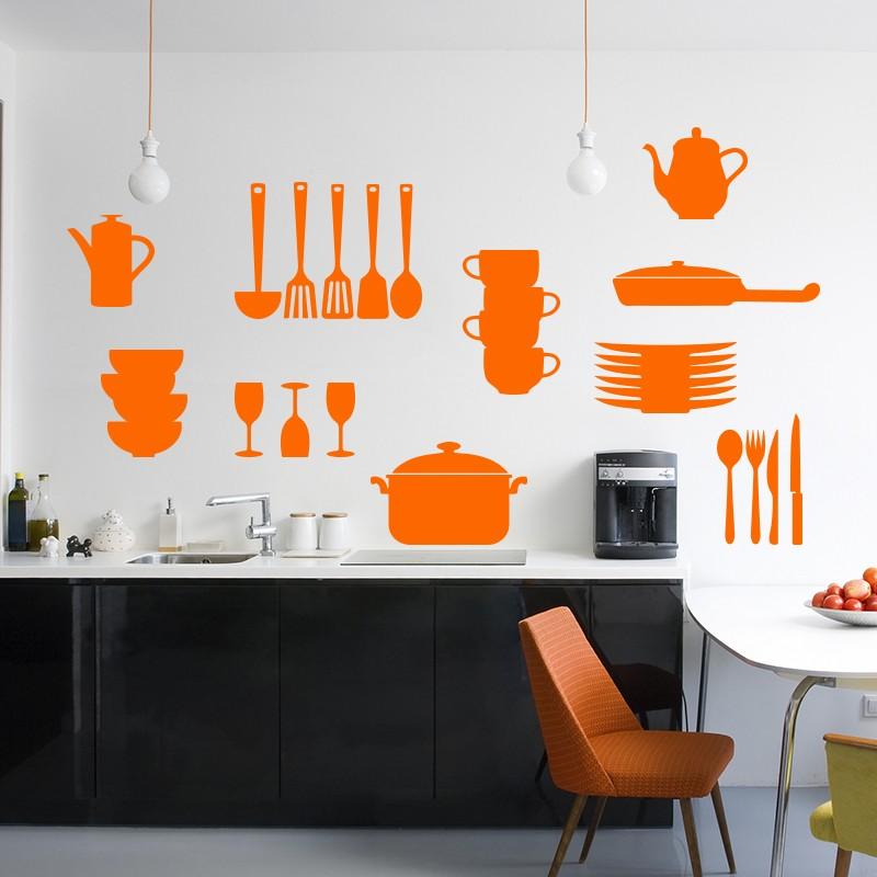 sticker couvert et ustensiles de cuisine. Black Bedroom Furniture Sets. Home Design Ideas