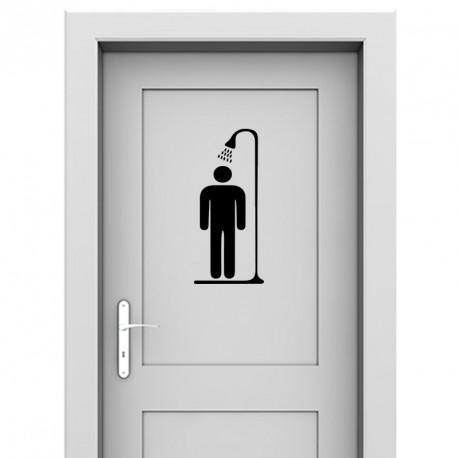 Sticker homme sous la douche