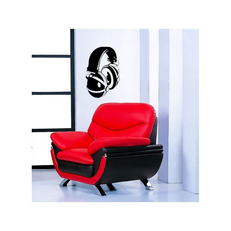 sticker d coratif d 39 un casque de dj. Black Bedroom Furniture Sets. Home Design Ideas