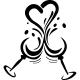 Sticker coupes formant un coeur