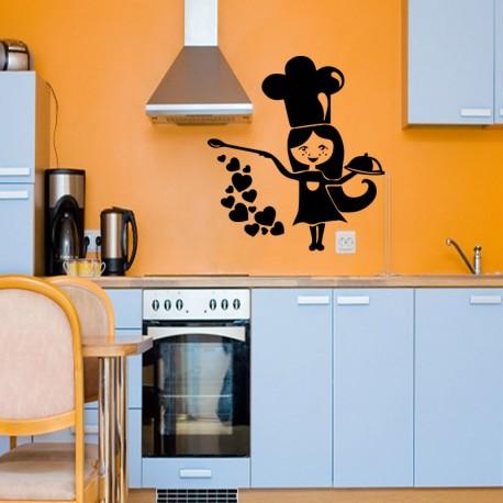 Sticker cuisinière avec coeurs
