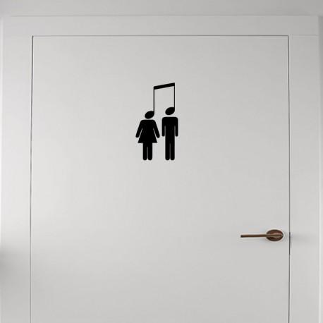 Sticker homme et femme avec des têtes en note
