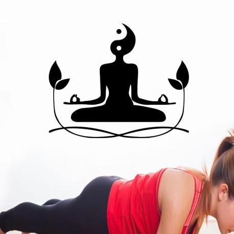 Sticker femme en méditation