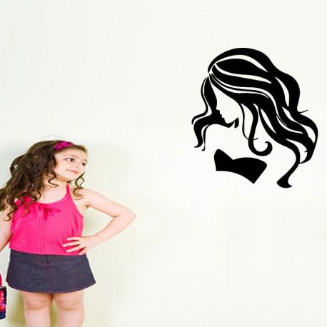 Sticker silhouette femme au long cheuveux
