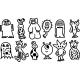 Sticker différent types d'extraterrestre