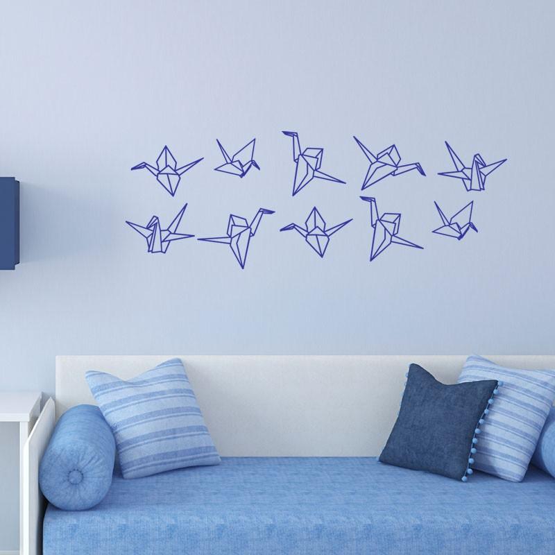 sticker signe en origami. Black Bedroom Furniture Sets. Home Design Ideas