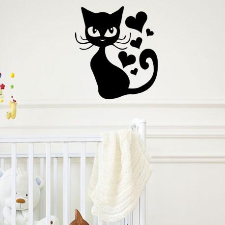 Sticker chatte et coeur