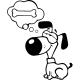 Sticker chien révant d'un os
