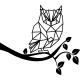 Sticker caricature hibou sur une branche