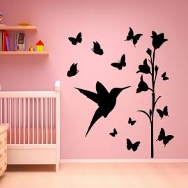Sticker oiseeau et papillons