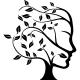 Sticker plante formant une tête de femme