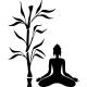 Sticker femme en méditation près d'une plante