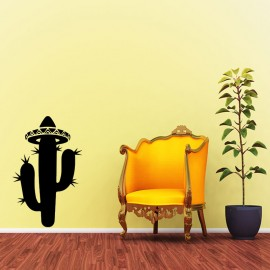 Sticker sombrero sur un cactus