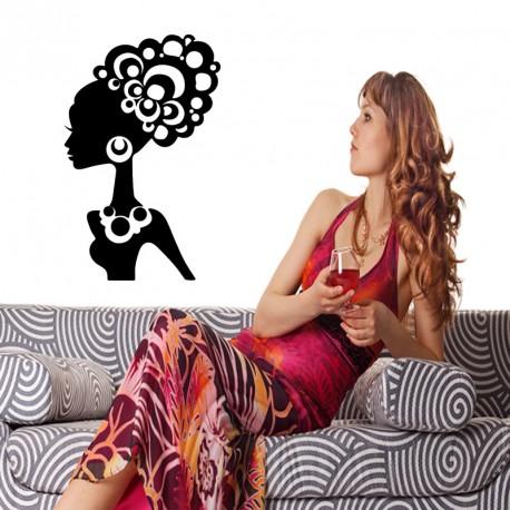 Sticker femme aux cheveux bouclés
