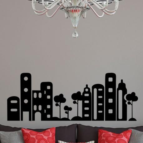 Sticker paysage d'une grande ville