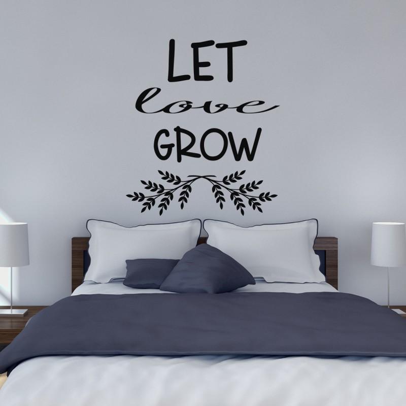 Couleur Chambre Garcon Adolescent : Sticker let love grow stickers citation texte