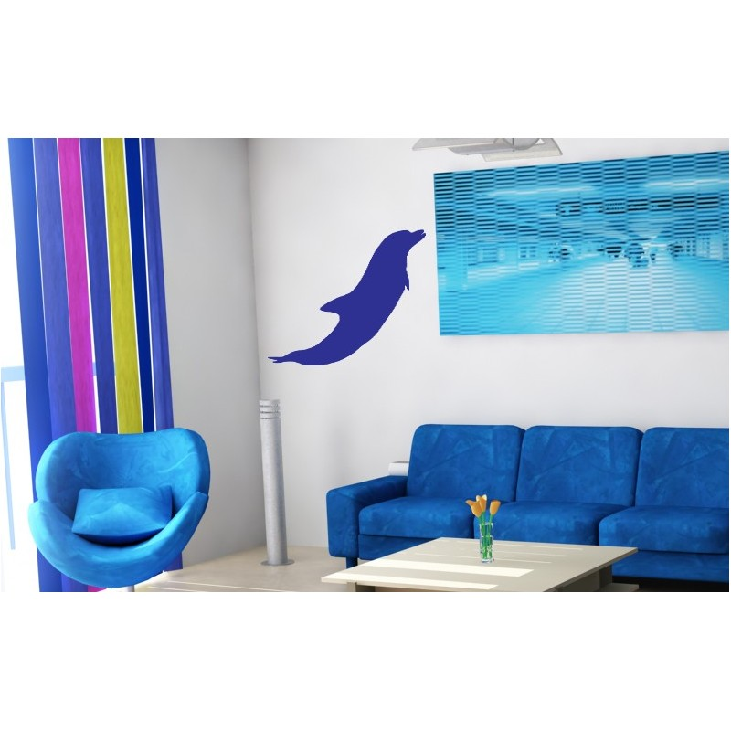 sticker d coratif d 39 un dauphin qui saute il remonte la surface toute vitesse. Black Bedroom Furniture Sets. Home Design Ideas