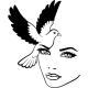 Sticker oiseau et visage d'une femme