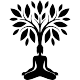 Sticker femme en méditation sous un arbre