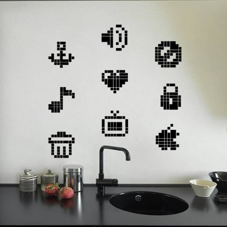 Sticker symboles en pixel