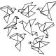 Sticker oiseaux en forme géométrique
