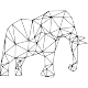 Sticker éléphant en forme géomtrique