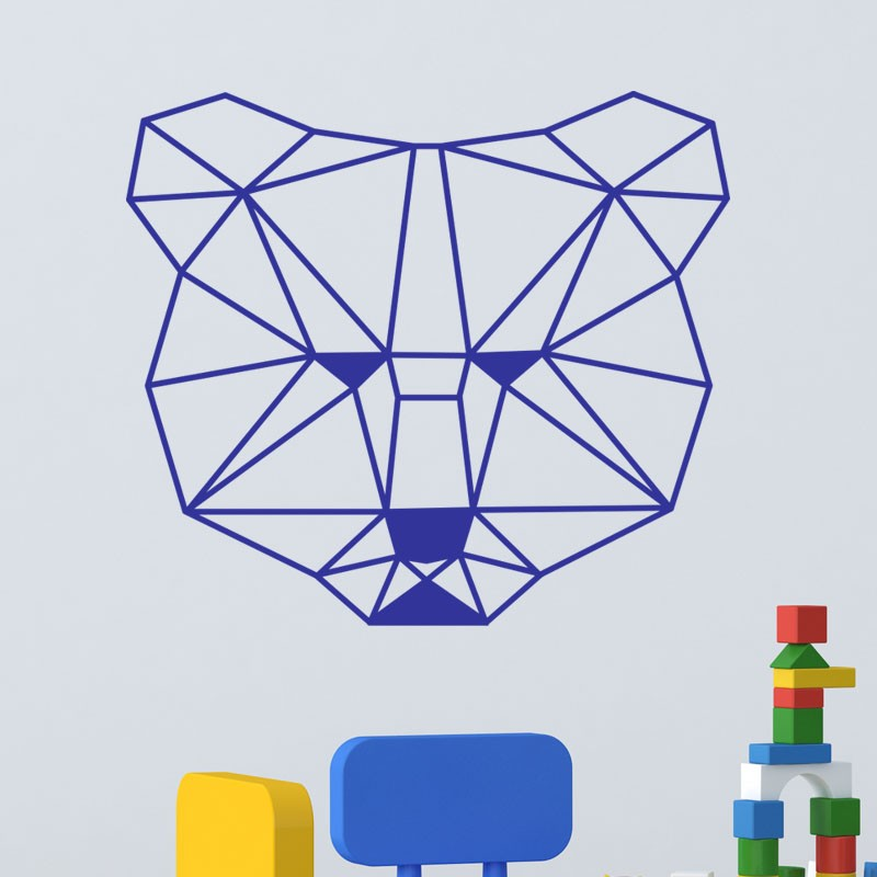 Sticker t te d 39 ours en forme g om trique for Deco forme geometrique