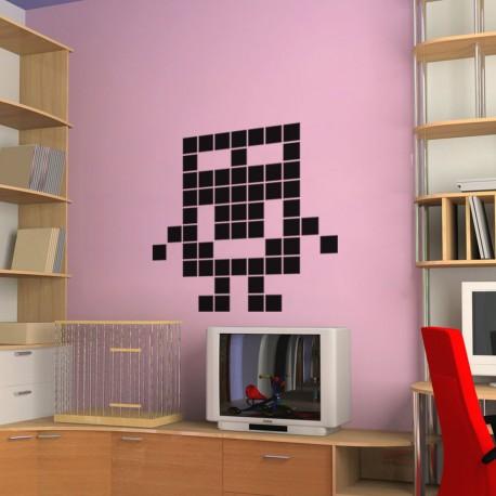 Sticker bonhome souriant en pixel