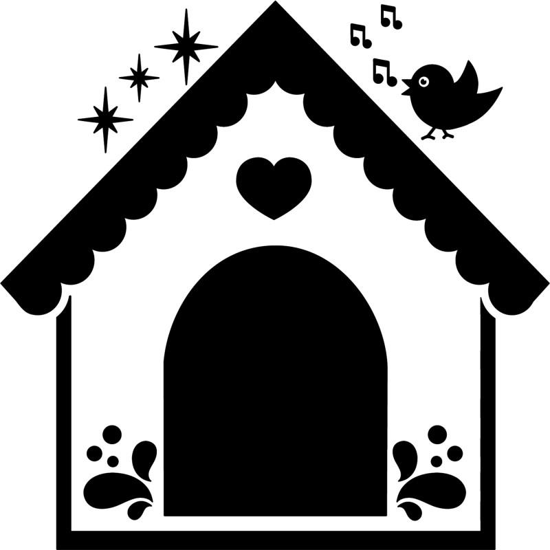 sticker niche de chien et oiseau chanteur. Black Bedroom Furniture Sets. Home Design Ideas