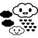 Sticker nuages souriants avec coeurs