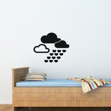 Sticker nuages avec coeurs