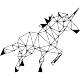 Sticker licorne en forme géométrique