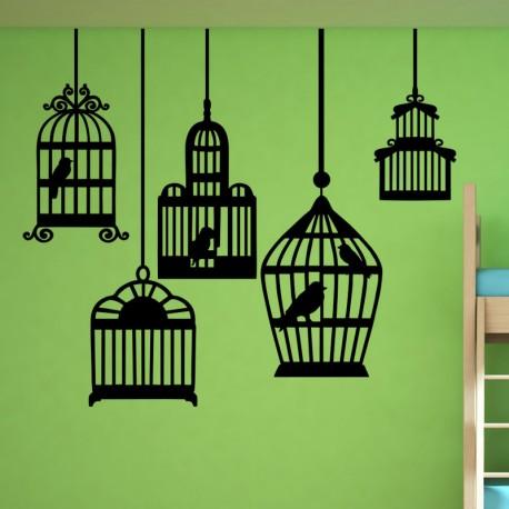 Sticker oiseaux dans des cages