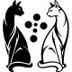 Sticker chats noir et blanc